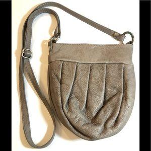 VERA PELLE ITALIAN GRAY PLEATED BAG